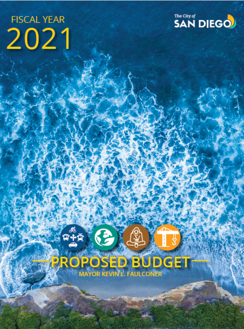 The cover image for San Diego's proposed fiscal 2021 budget.