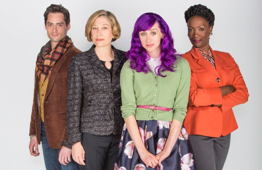 """JD Taylor, Meg Gibson, Lauren Blumenfeld and Carolyn Michelle Smith (left to right) appear in the Old Globe Theatre's """"Rich Girl."""""""