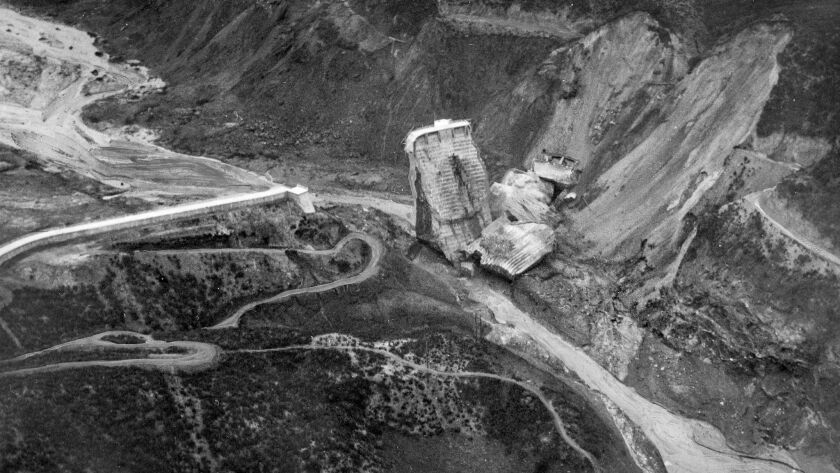 Mar. 13, 1928: Aerial photo of the wrecked St. Francis Dam taken from the air at a point just below