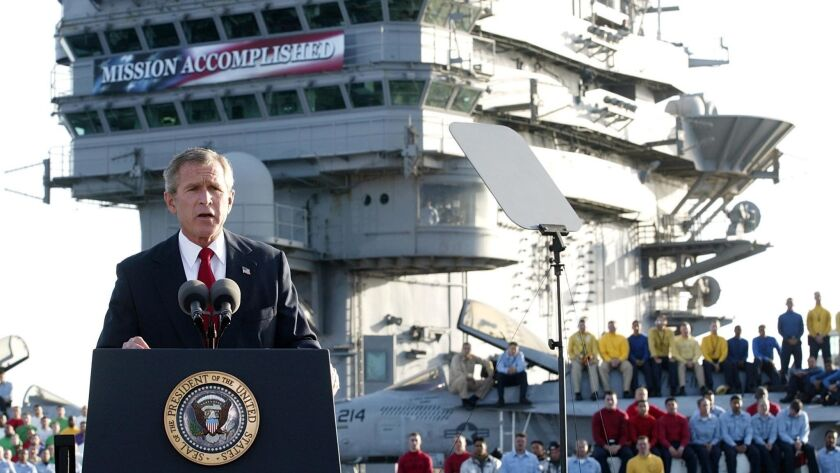 US-BUSH-ADDRESS-USS ABRAHAM LINCOLN