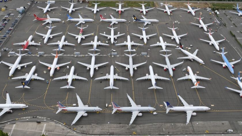 Boeing 737 MAX planes sit grounded in Seattle in 2019.