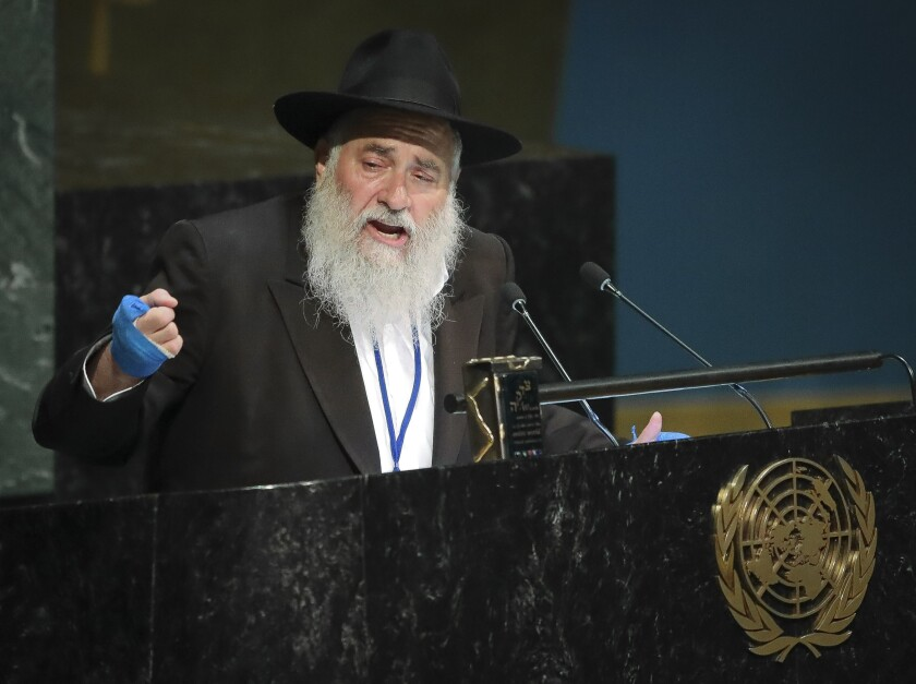 Rabbi Yisroel Goldstein, senior rabbi of Chabad of Poway synagogue in San Diego, Calif., addresses the United Nations General Assembly meeting on combating antisemitism and other forms of racism and hate in the digital age, Wednesday June 26, 2019 at U.N. headquarters.