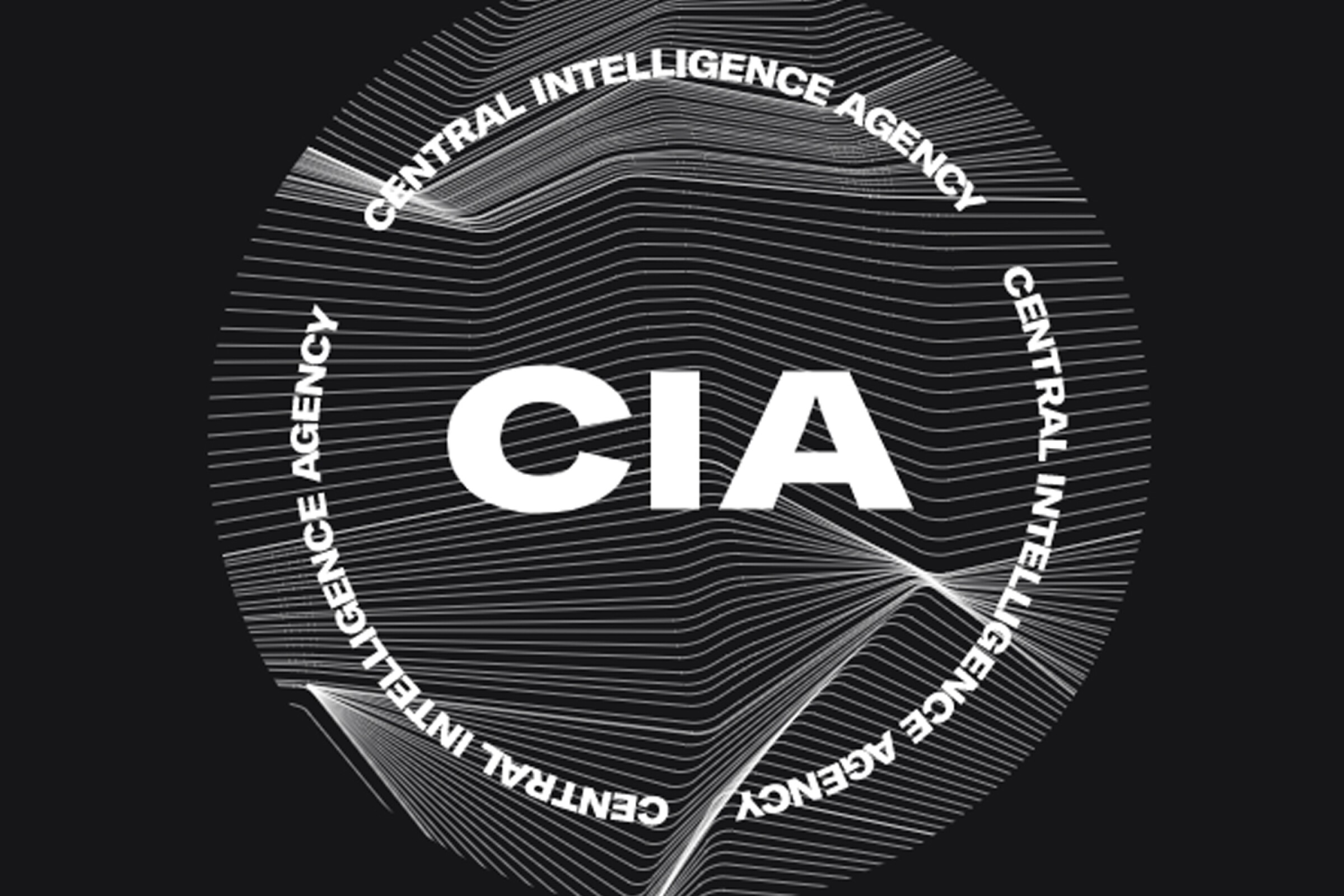 """The letters """"CIA"""" in white over a lined, black ground"""