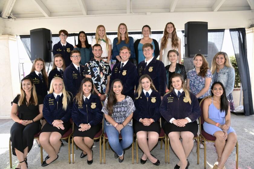 2018 Don Diego Scholarship recipients, front row: Briana Kier, Hailey Baldwin, Sydney George , Angel