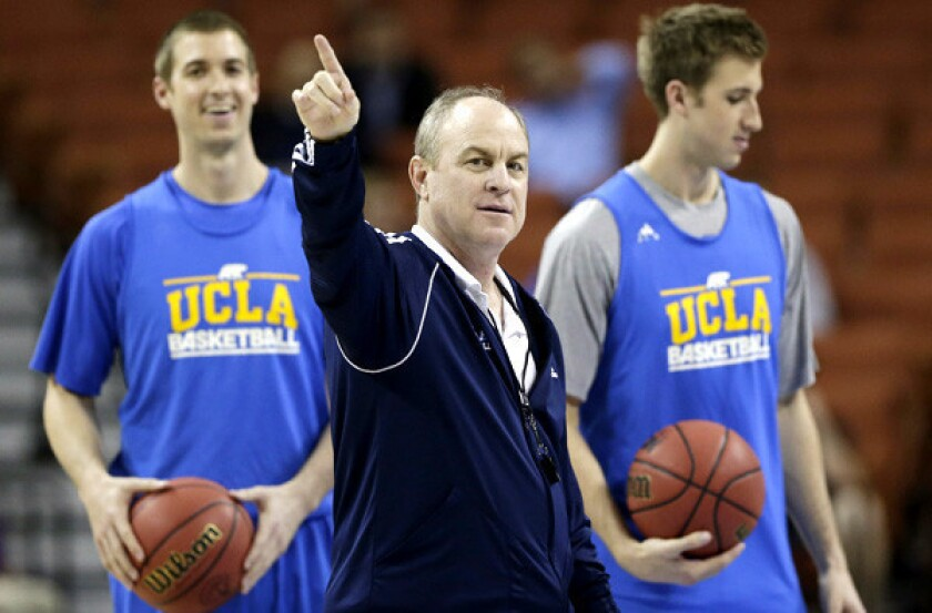 UCLA Coach Ben Howland gives direction during a practice last week.