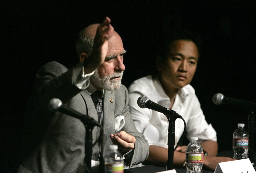 """Vint Cerf (left), considered a """"father of the Internet,"""" and Albert Lin, a researcher at Calit2. John Gastaldo • U-T"""