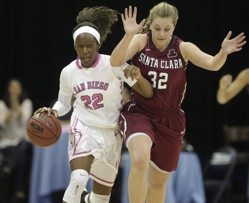 USD's Maya Hood tries to get past Santa Clara's Morgan McGwire as she moves the ball downcourt during the first half.