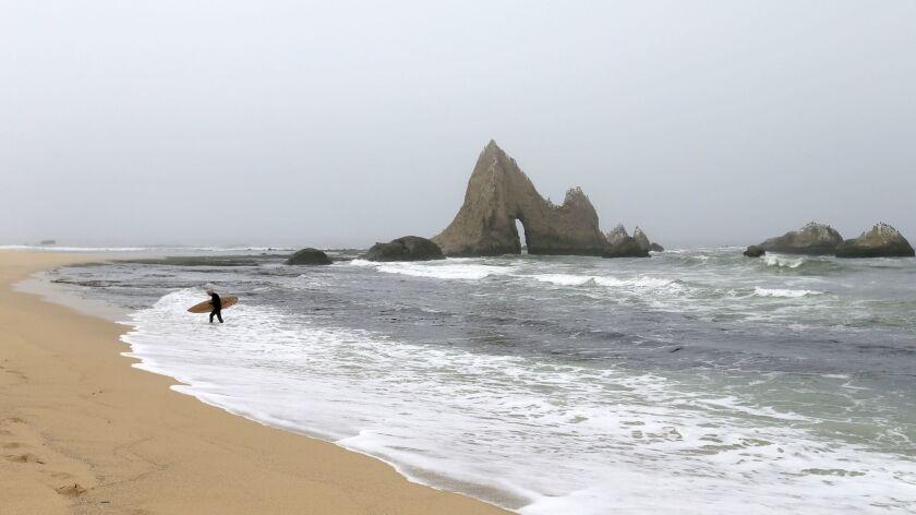 A surfer heads in to Martins Beach, where an access gate remains locked despite a judge's order.