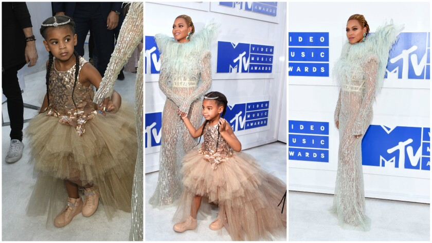 Beyonce in Francesco Scognamiglio and daughter Blue Ivy arrive at the 2016 VMAs.