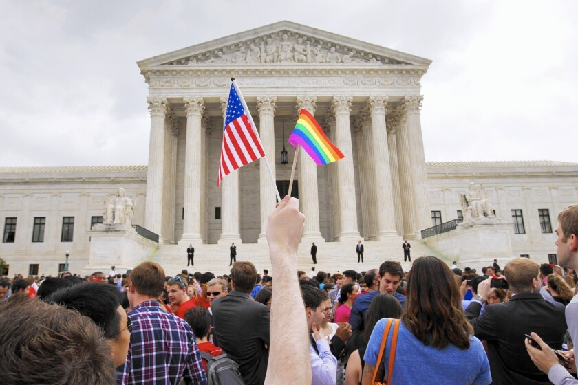A celebration outside the Supreme Court in Washington after same-sex marriage was legalized.