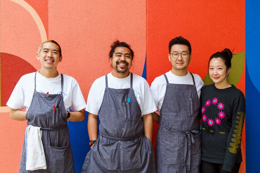 Chefs Ralph Hsiao and Andrew Marco, left, with cofounders Brian Lee and Yoonna McGill.