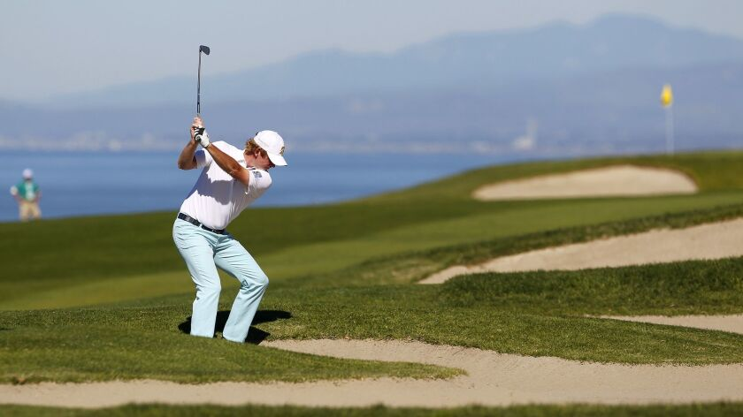 Brandt Snedeker hits from a fairway bunker on the South Course fourth hole during the 2017 Farmers Open. The bunkers will be moved west to pinch the fairway closer to the cliffs in a renovation that begins in February.