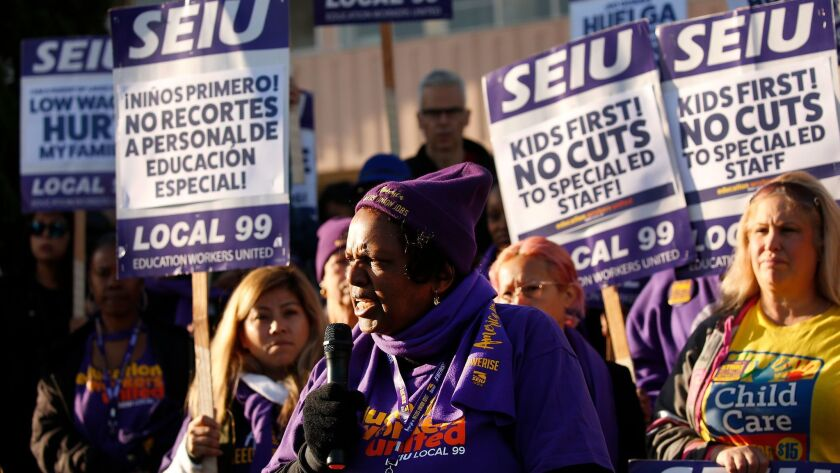 BEVERLY HILLS, CA – FEBRUARY 26, 2018: LAUSD School Custodian Edna Logan, joins school workers at