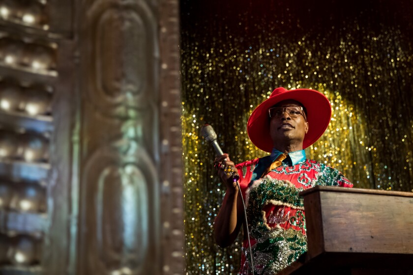 "Billy Porter emcees a ball on the set of ""Pose"""