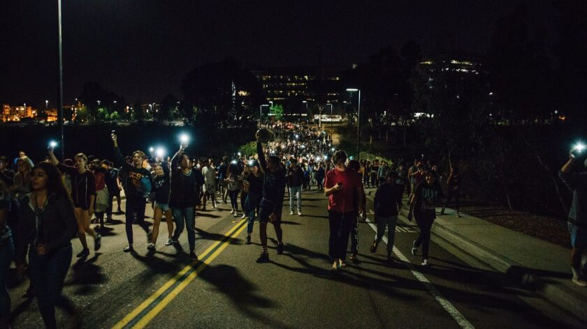 UC San Diego police said about 500 students took to the streets early Wednesday to protest Donald Trump's election victory.