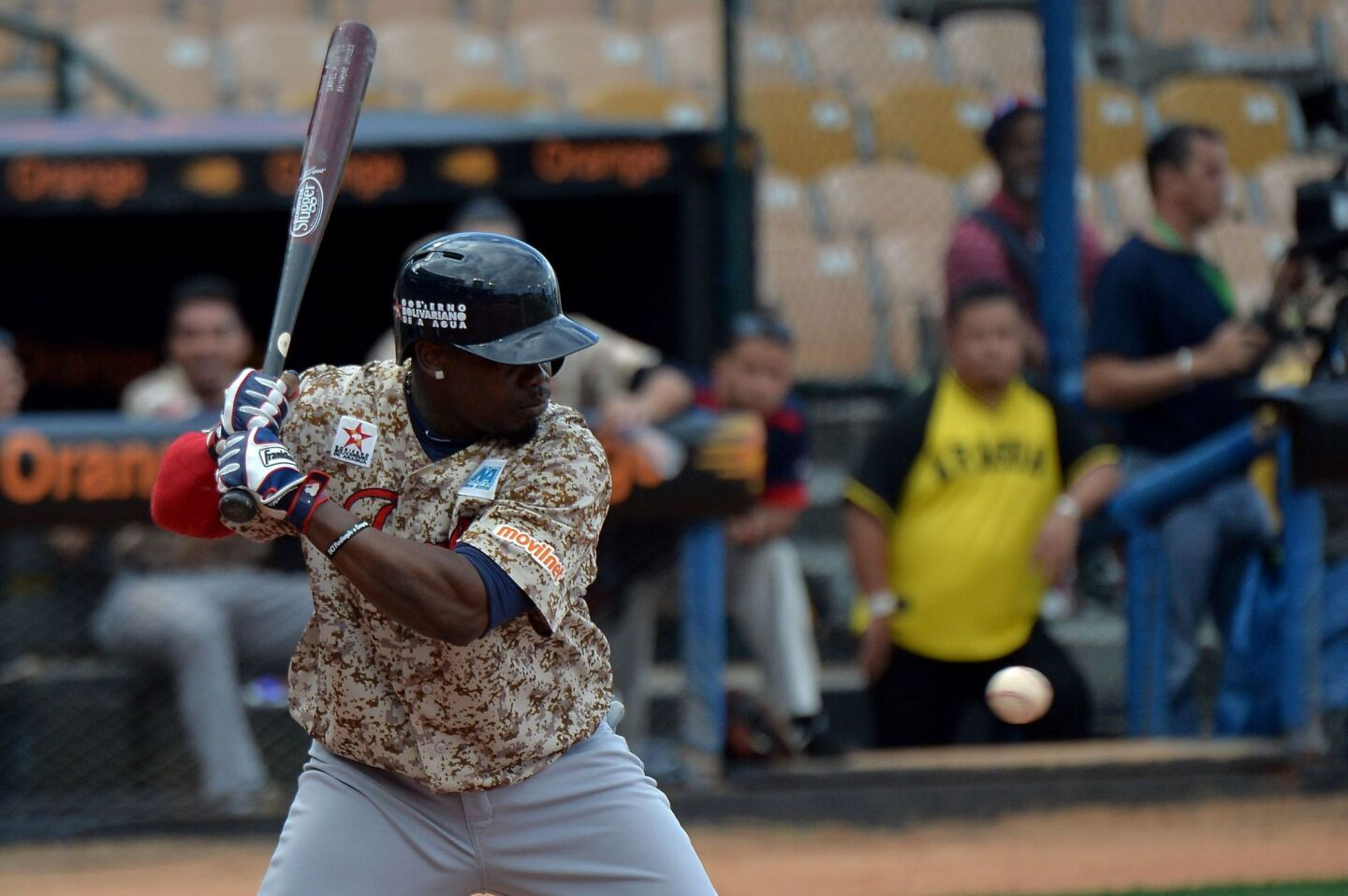 Adonis Garcia of Venezuela hits against Cuba during their 2016 Caribbean Baseball Series game in Santo Domingo, Dominican Republic, on February 4, 2016. AFP PHOTO/YAMIL LAGEYAMIL LAGE/AFP/Getty Images ** OUTS - ELSENT, FPG, CM - OUTS * NM, PH, VA if sourced by CT, LA or MoD **