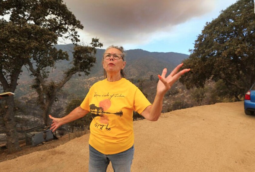 Patricia Paine said her son cleared away brush and saved her home from the Stagecoach fire in Plute Meadows.