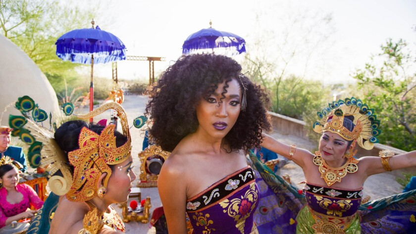 "Judith Hill, center, in a scene from the movie ""Bali Beats of Paradise."" Credit: Sun and Moon Films"