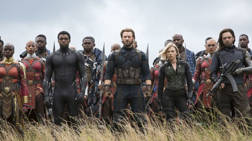 This image released by Marvel Studios shows, front row from left, Danai Gurira, Chadwick Boseman, Ch