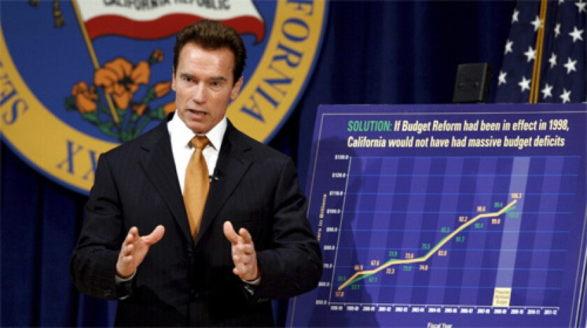Governor Arnold Schwarzenegger responds to questions after introducing his 2008 budget proposal at the State Health Services Building in Sacramento, California.
