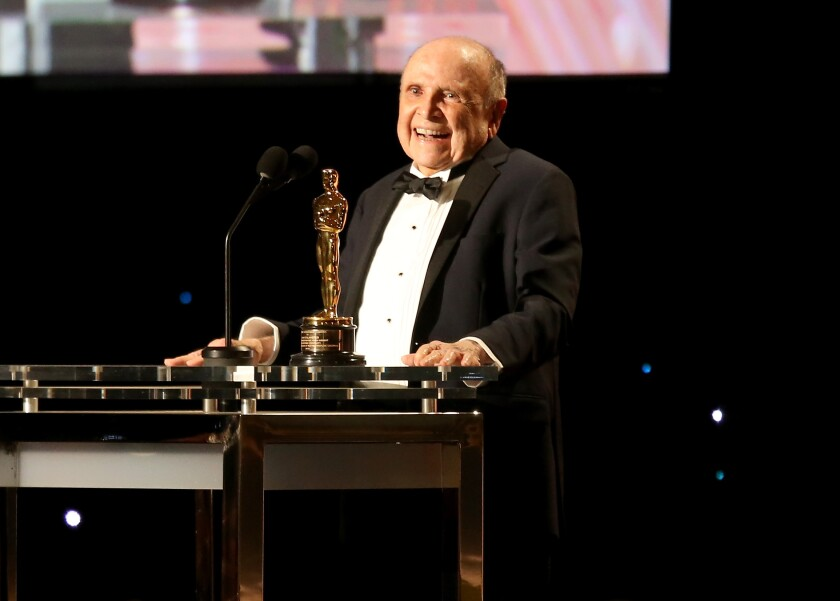 Lynn Stalmaster accepts his award  during the Academy of Motion Picture Arts and Sciences.