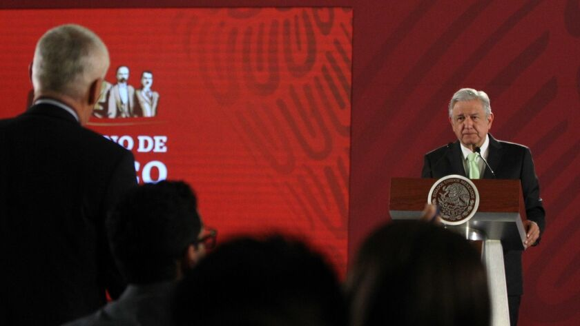 Mexican President Obrador in a press conference, Mexico City - 12 Apr 2019