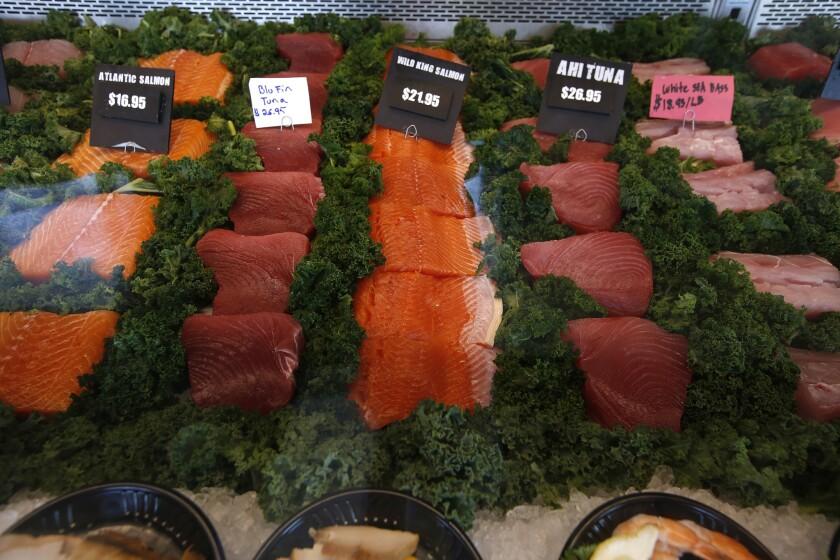 The seafood case at Bear Flag in Huntington Beach.