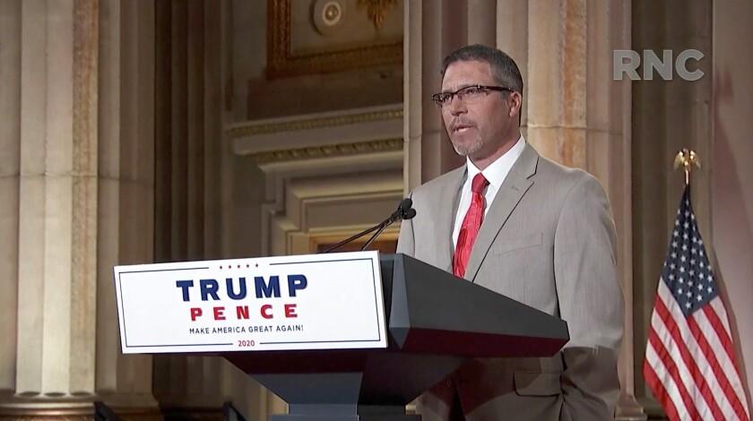 Maine lobsterman Jason Joyce addresses the virtual Republican National Convention on Aug. 25.