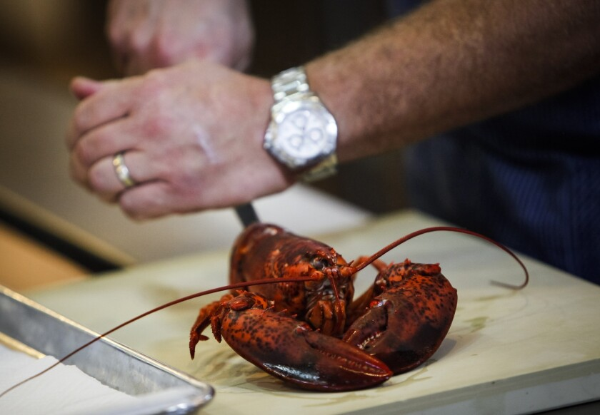 Chef Michael Cimarusti, chef at Providence, cuts a lobster in half.