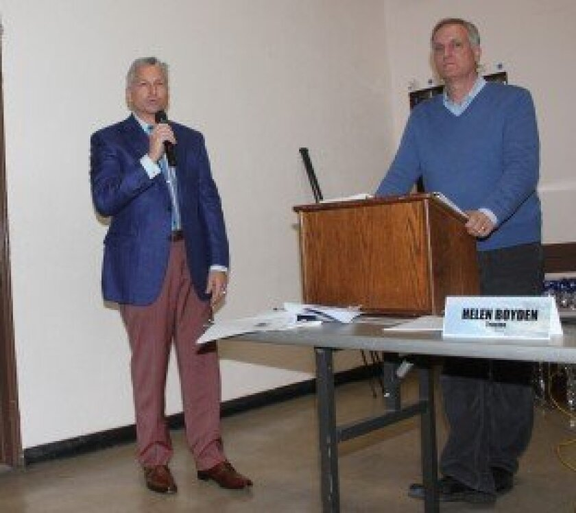 David Marino (left) speaks in favor of sidewalk café plans for the new Café La Rue at La Valencia Hotel. Marino said the café would enhance the pedestrian experience on Prospect Street for international travelers coming from Rome, Paris, Sydney and other cities where outdoor cafes are an integral p