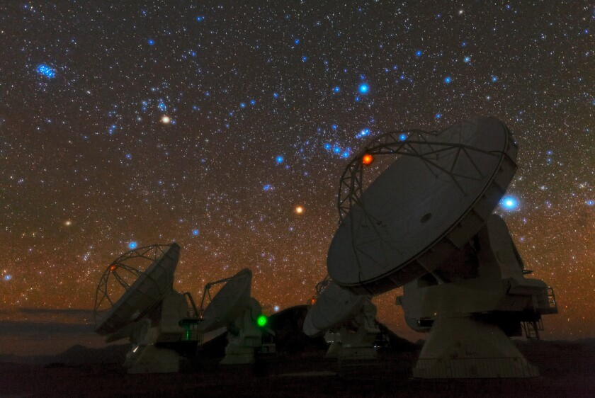 The ALMA telescope in northern Chile includes an array of 66 radio antennas that scientists use to see the universe.