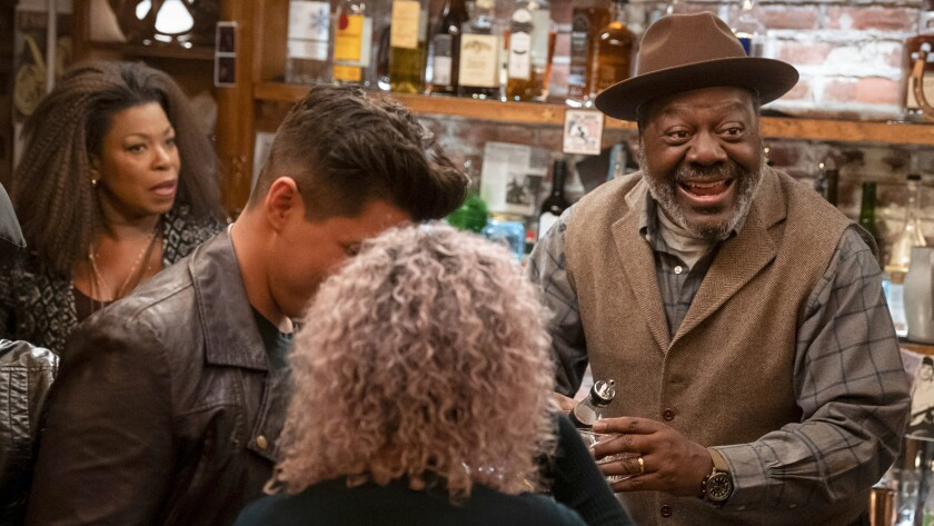 "Lorraine Toussaint and Frankie Faison in a new episode of ""The Village"" on NBC."