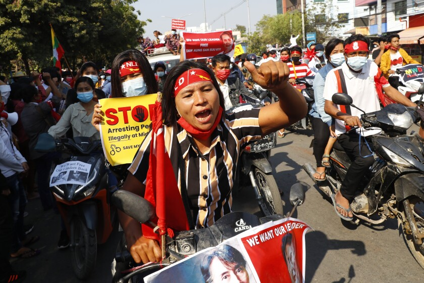 Anti-coup protesters join a rally on motorcycles in Mandalay, Myanmar, Saturday, Feb. 13, 2021. Mass street demonstrations in Myanmar have entered their second week with neither protesters nor the military government they seek to unseat showing any signs of backing off from confrontations. (AP Photos)