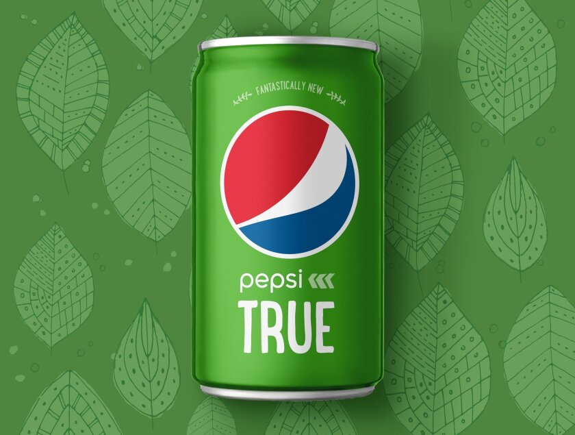 This product image provided by PepsiCo Inc. shows the company's new product, Pepsi True. PepsiCo Inc. says Pepsi True will have 30 percent fewer calories than the regular version and be made with a mix of sugar and stevia, a natural sweetener with no calories. (AP Photo/PepsiCo)