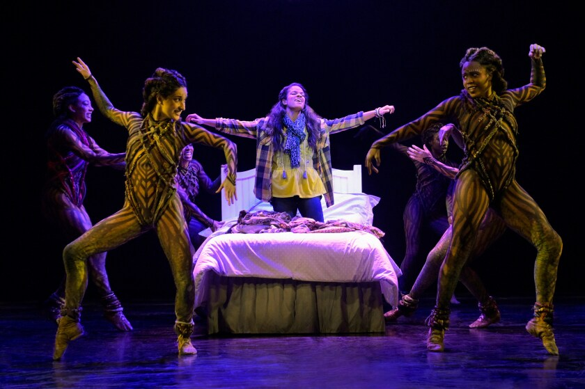 """Storm Lever, center, and ensemble in La Jolla Playhouse's production of """"Fly."""""""