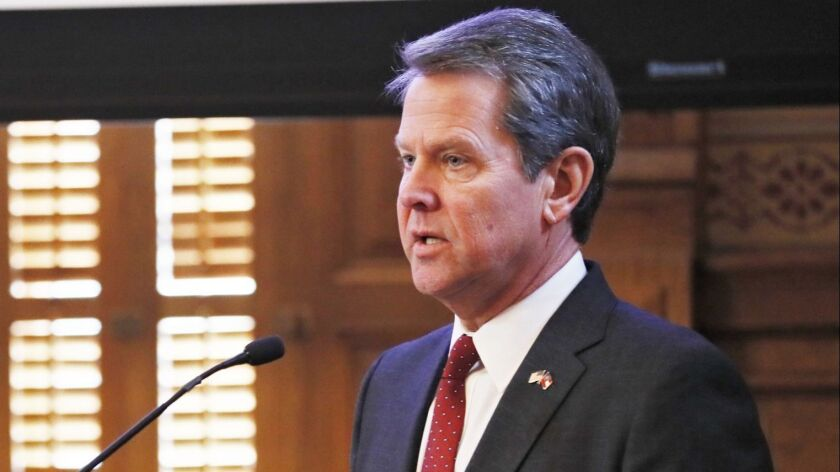 FILE - In this Wednesday, Jan. 23, 2019, file photo, Georgia Gov. Brian Kemp addresses the 2019 Seas