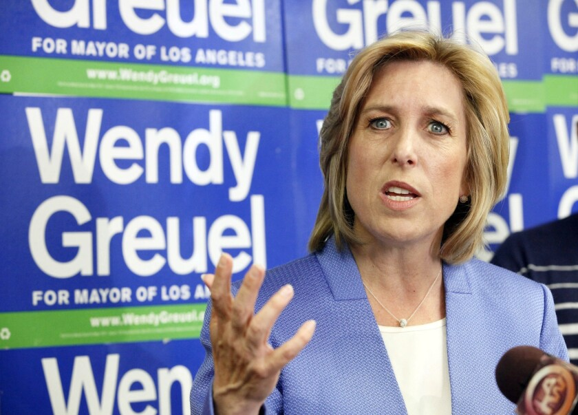 Mayoral candidate Wendy Greuel speaks during a news conference where she discussed her loss to Eric Garcetti in the Los Angeles Mayor's race.