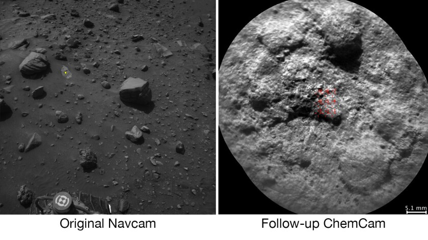 NASA's Curiosity Mars rover analyzed the Navcam image, left, chose the target indicated with a yellow dot and pointed ChemCam to shoot the rock with its laser and take an image.