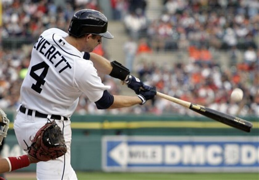 Detroit Tigers' Adam Everett hits a grand slam off Cleveland Indians starter Aaron Laffey in the fourth inning of a baseball game Saturday, May 2, 2009, in Detroit. (AP Photo/Duane Burleson)
