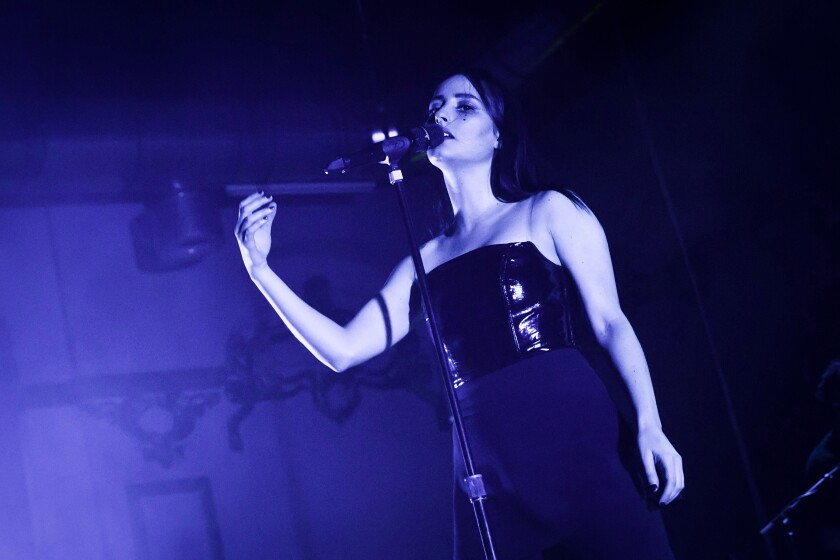 A photo of Jillian Banks performing live on stage during a concert at the Huxleys on October 28, 2017 in Berlin, Germany.