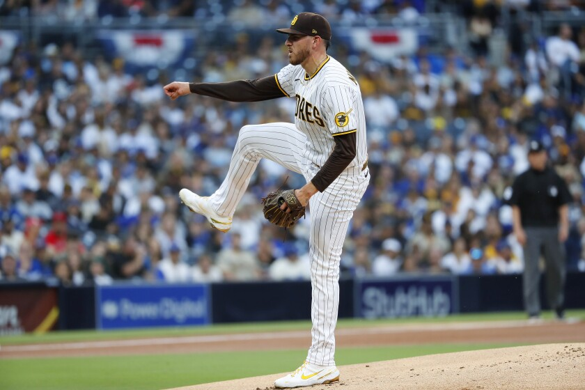 Joe Musgrove pitches against the Dodgers on June 23 at Petco Park.