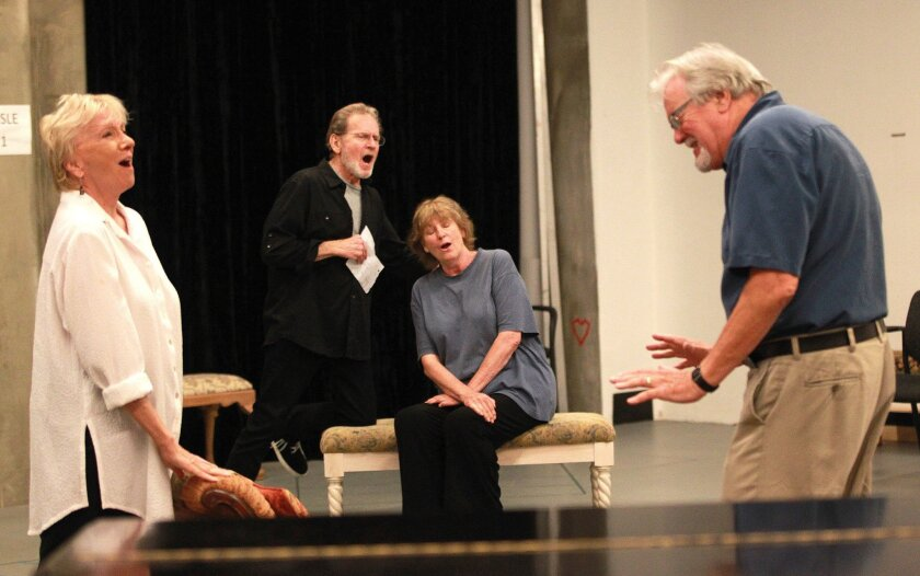 """Elizabeth Franz, Robert Foxworth, Jill Tanner and Roger Forbes rehearse a scene for The Old Globe's """"Quartet,"""" which opens July 31 in Balboa Park."""