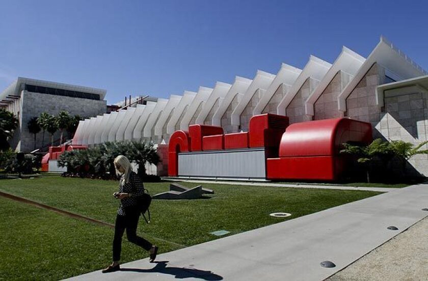Renzo Piano's Resnick Pavilion at LACMA, with the taller BCAM building rising behind it.