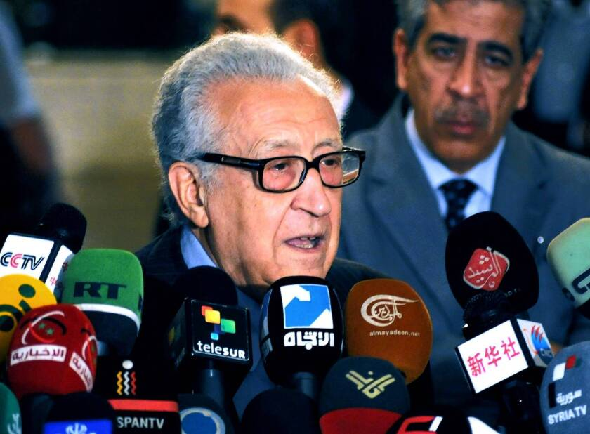 Peace envoy Lakhdar Brahimi speaks in Damascus, Syria's capital, about efforts to form a transitional government in Syria.