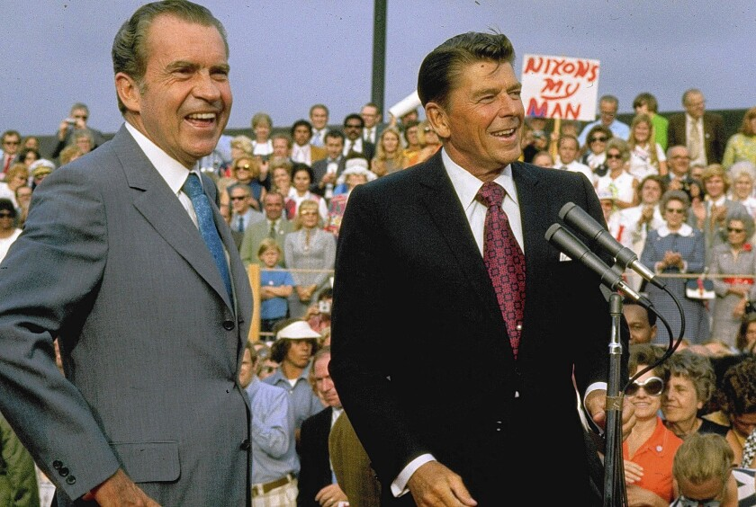 "Richard Nixon during his 1972 campaign with help from Ronald Reagan. ""The Invisible Bridge"" analyzes Nixon's subsequent fall and Reagan's rise."