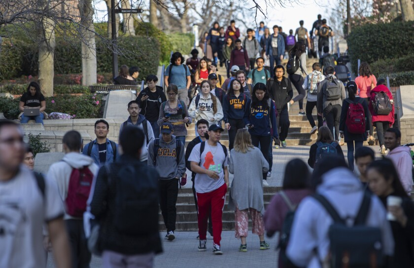 Students on the UCLA campus in January 2019.