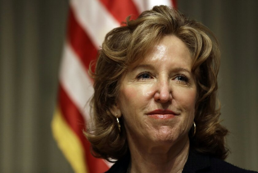 FILE - This April 16, 2014 file photo shows Sen. Kay Hagan, D-N.C. in Durham, N.C. Deciding which party controls the U.S. Senate for the final two years of President Barack Obama's tenure could come down to women _ both the handful who are running in significant races and the moderate female voters who often tip close elections. (AP Photo/Gerry Broome, File)