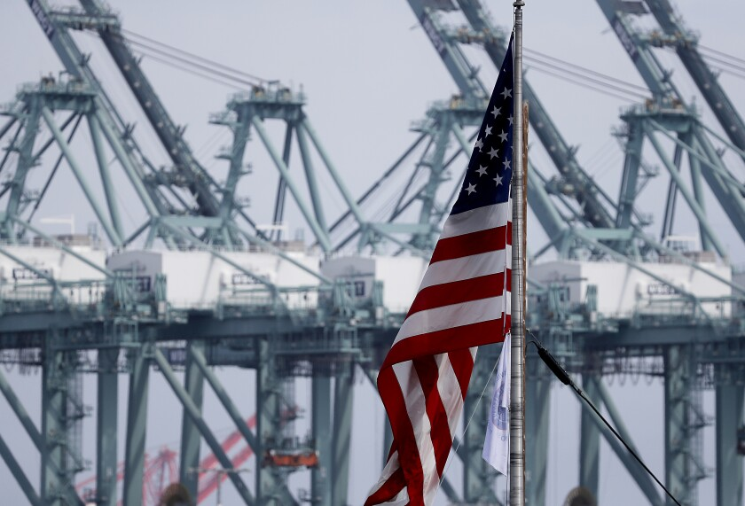 The L.A. and Long Beach ports project a 15% to 17% plunge in cargo volumes in the first quarter of this year, compared with the first three months of 2019.