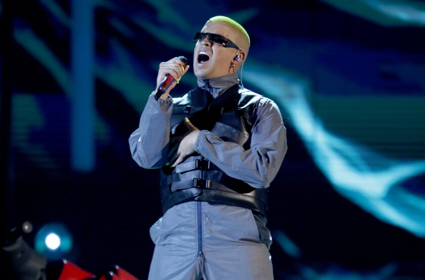 FILE - Bad Bunny performs a medley at the Billboard Latin Music Awards in Las Vegas on April 25, 2019. Bad Bunny, who has nine nominations at the 2020 Latin Grammys, will also perform at the awards show on Nov. 19. (Photo by Eric Jamison/Invision/AP, File)
