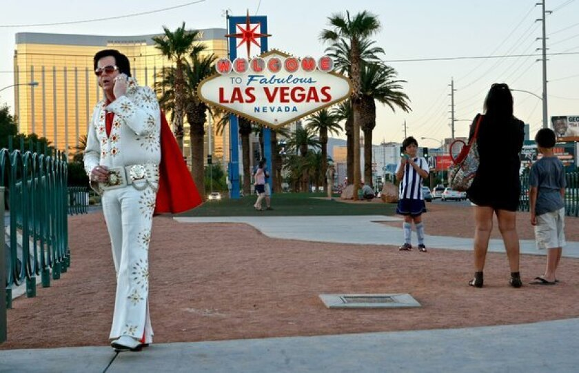 Is Elvis calling for a bus ticket? Hard to tell, but one thing is certain: Greyhound is running nonstop service between Los Angeles and Las Vegas.